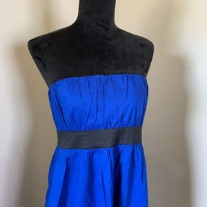Express Strapless Blue and Black Dress